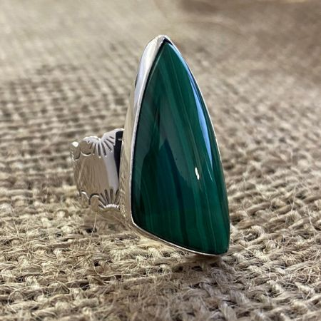 Freeform Malachite Ring - Size 7