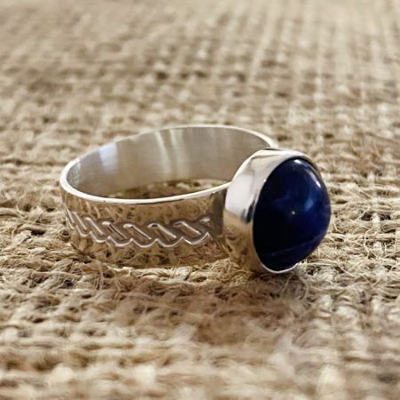 Sodalite Blue Moon Ring - Size 8