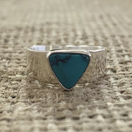 Tiny Turquoise Triangle Ring - Size 6