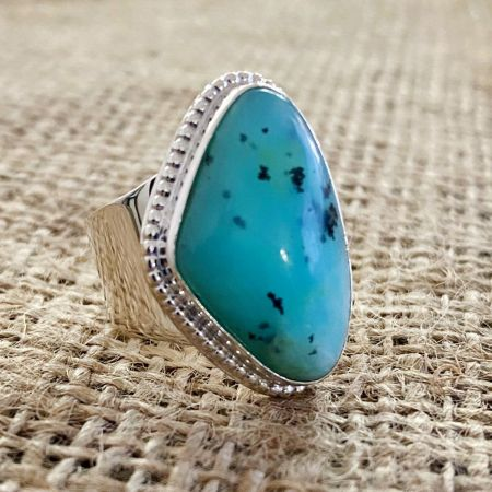 Freeform Blue Opal Ring - Size 7