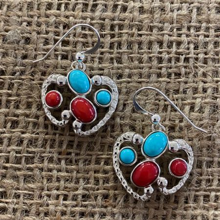 Coral and Seven Peaks Turquoise Earrings