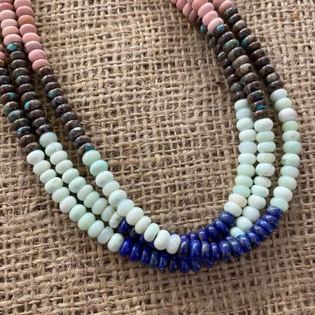 Multi Stone Three Strand Necklace