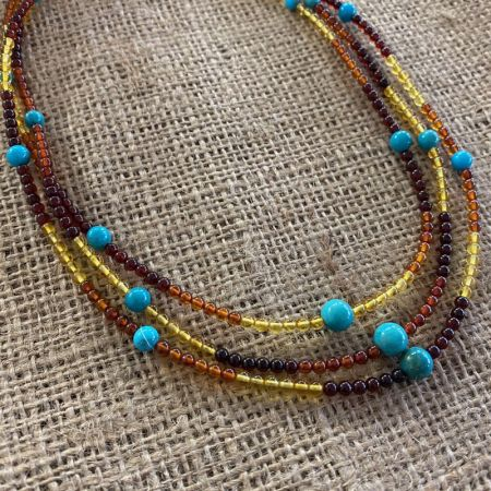 Amber and Turquoise Triple Strand Nested Necklace