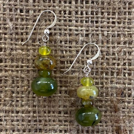 Green Reef Opal Beaded Earrings