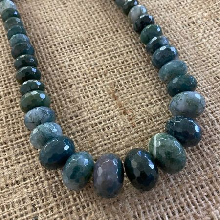 Green Moss Agate Graduated Necklace