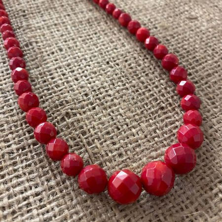 Faceted Red Sea Bamboo Coral Necklace