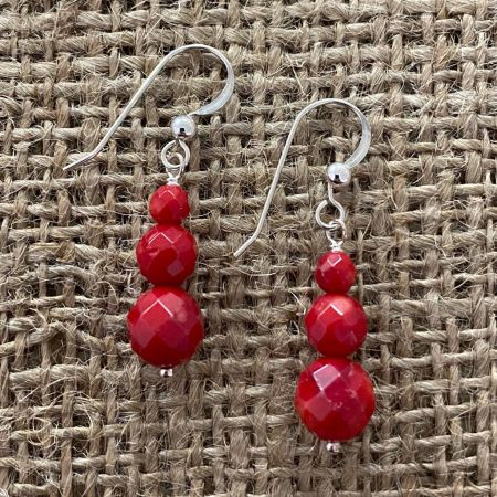 Faceted Red Sea Bamboo Coral Earrings