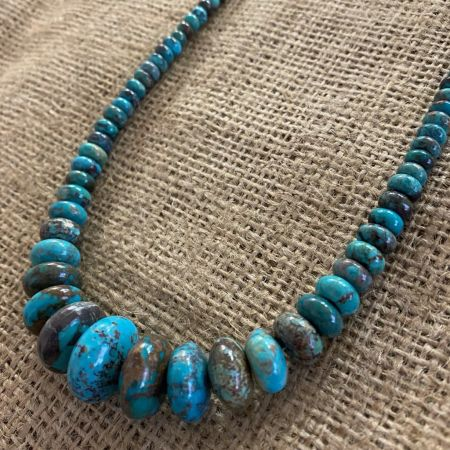 Azure Peaks Turquoise Rondelles Necklace