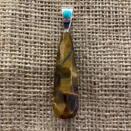 Tiger Eye and Blue Ridge Turquoise Pendant