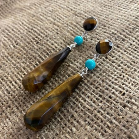 Tiger Eye and Blue Ridge Turquoise Earrings