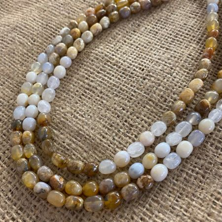 Graveyard Point Chalcedony Three Strand Necklace