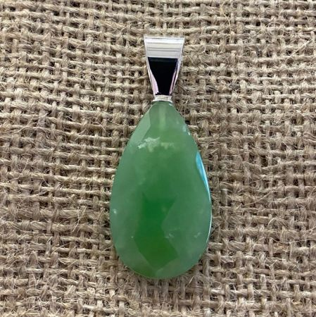 Faceted Chrysoprase Tear Drop Pendant