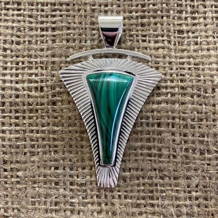 Triangular Malachite Pendant