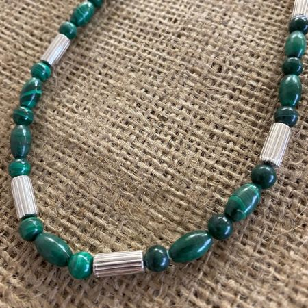 Malachite and Sterling Silver Bead Necklace