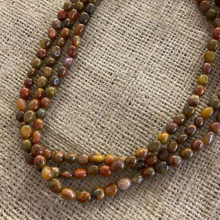 Yellow Red Jasper Three Strand Necklace
