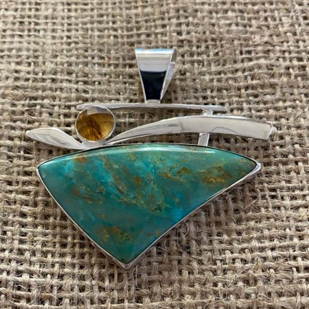 Turquoise and Citrine Pendant