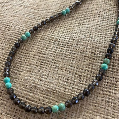 Smoky Quartz and Alicia Green Turquoise Necklace