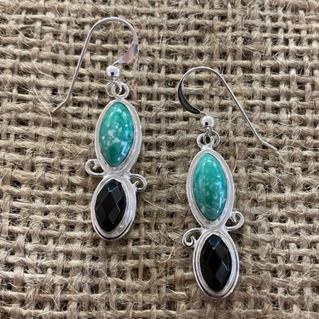 Alicia Green Turquoise and Faceted Smoky Quartz Earrings