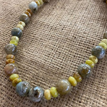 Chalcedony and Madagascar Green Opal Necklace