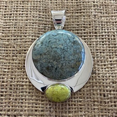 Chalcedony and Madagascar Green Opal Pendant
