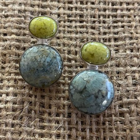 Chalcedony and Madagascar Green Opal Post Earrings