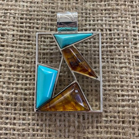 Campitos Turquoise and Amber Pendant
