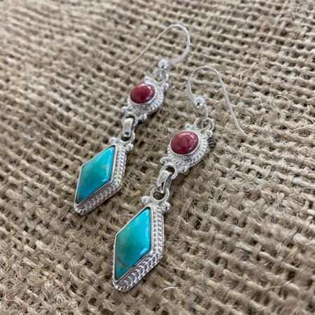 Thulite and Andean Blue Turquoise Earrings