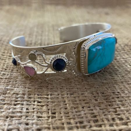 Turquoise and Multi Sapphire Cuff