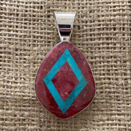 Thulite and Turquoise Inlay Pendant