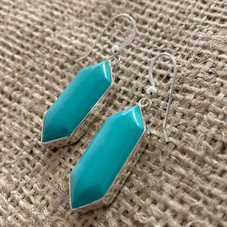 Kingman Turquoise Freeform Dangle Earrings