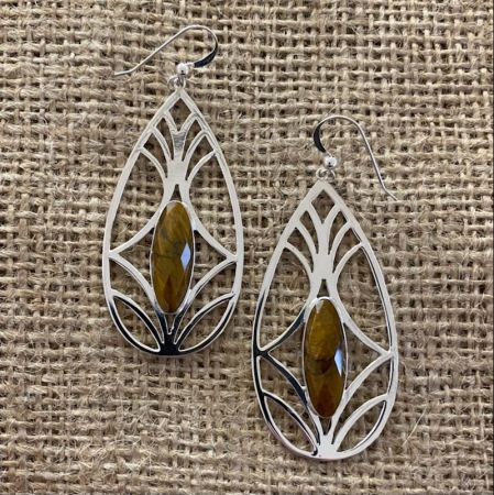 Faceted Tigers Eye Statement Earrings