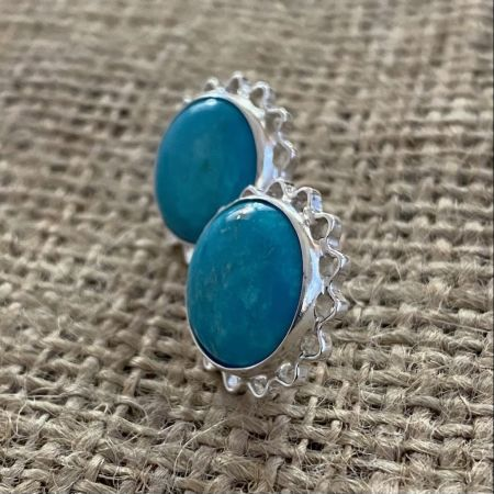 Blue Turquoise Large Sun Earrings