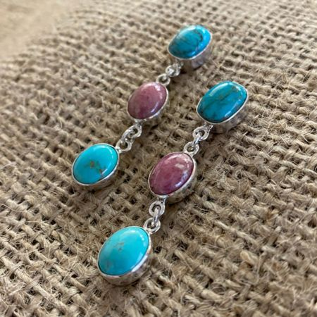 Rhodonite and Chilean Turquoise Earrings