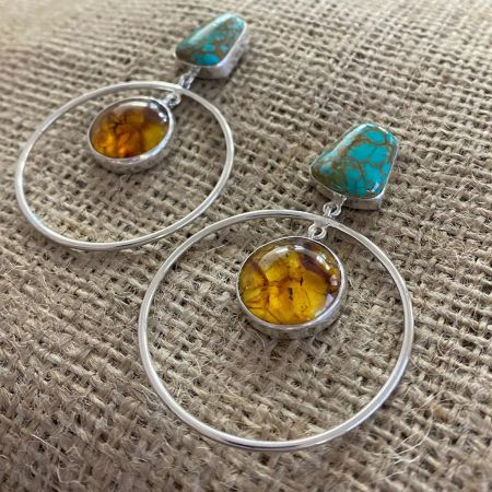 Tyrone Turquoise and Amber Large Hoop Earrings