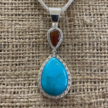 Kingman Turquoise and Mexican Opal Pendant and Chain Set