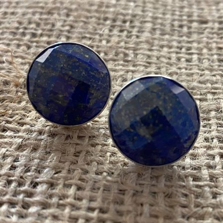 Faceted Lapis Post Earrings