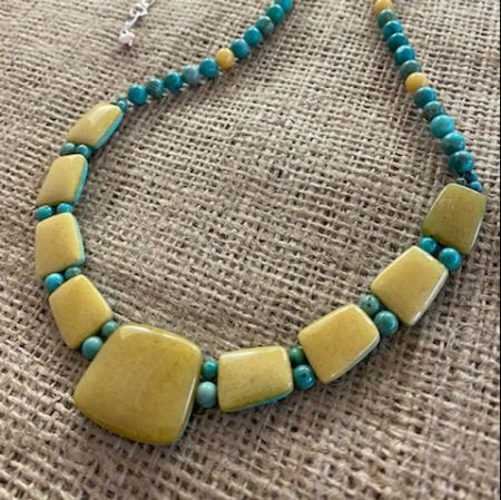 Butterscotch Amber and Turquoise Reversible Necklace