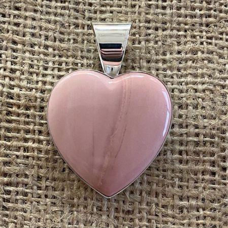 Australian Pink Opal Heart Pendant