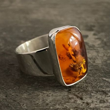 Amber Freeform Ring - Size 8