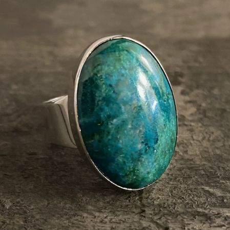 Large Chrysocolla Oval Ring - Size 7