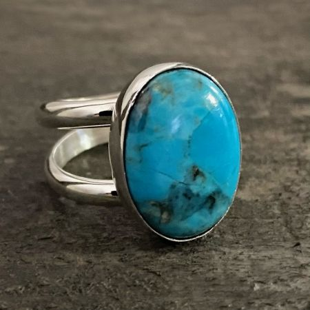 Blue Anhui Turquoise Oval Ring - Size 8