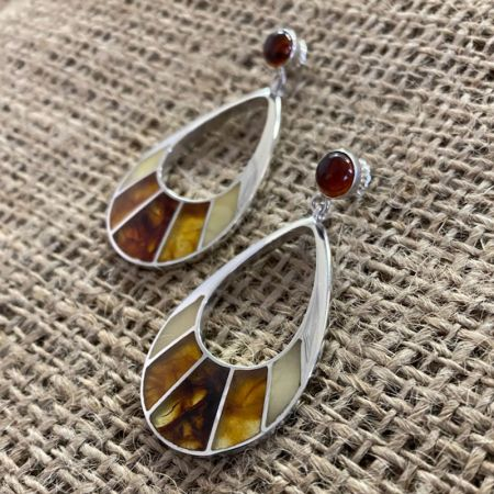 Multi Color Amber Tear Drop Earrings