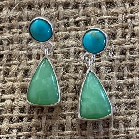 Chrysoprase and Turquoise Earrings