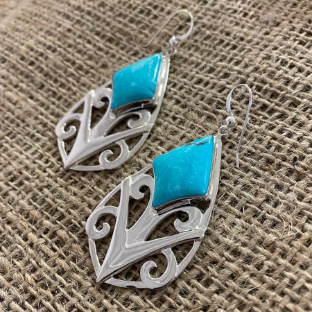 Andean Blue Turquoise Dangle Earrings