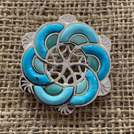 Red Skin and Campitos Turquoise Flower Inlay Slider Pendant