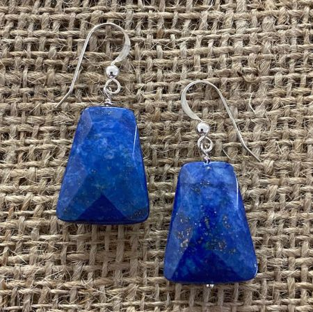 Faceted Lapis Dangle Earrings