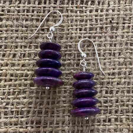 Purple Turquoise Stacked Saucers Earrings