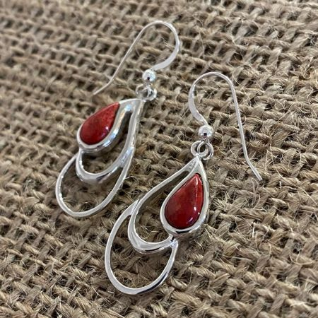 Red Coral Tear Drop Earrings