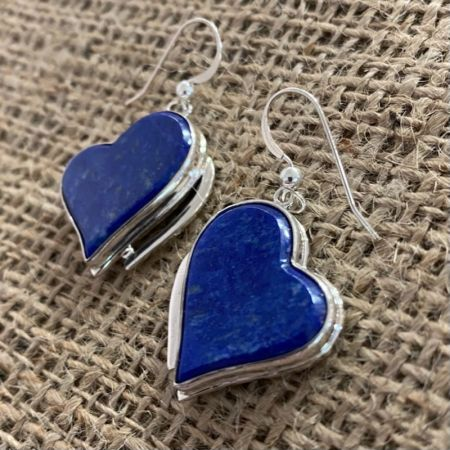 Contemporary Lapis Heart Earrings