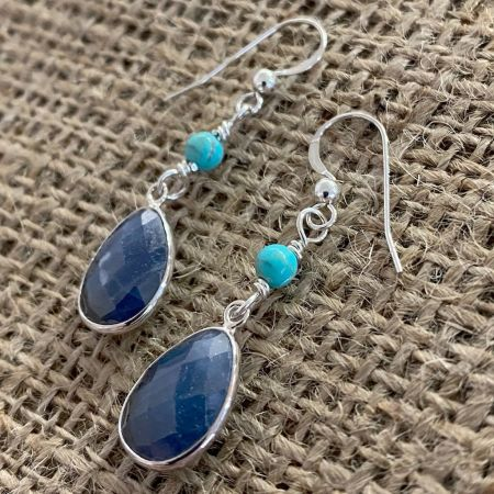 Malawi Sapphire and Turquoise Earrings